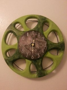 UpCycled Hubcap Clock 15.5 Diameter Finished With by TransCreation, $22.95