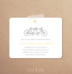Baby shower invitations baby shower invites baby tandem bike tandem bicycle bridal shower invitation baby shower engagement party bike bicycle floral modern thank you note filmwisefo Choice Image