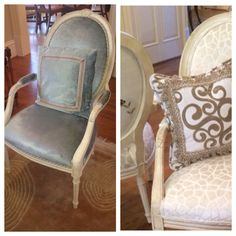 Love mix in different fabrics to give these chairs a fresh look