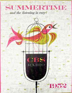 Summertime--CBS Radio promotional kit by Lou Dorfsman, illustration by Joseph Low, 1952 by Herb Lubalin Study Center, Vintage Advertisements, Vintage Ads, Vintage Posters, Vintage Designs, Vintage Images, Modern Graphic Design, Retro Design, Design Art, Illustrations