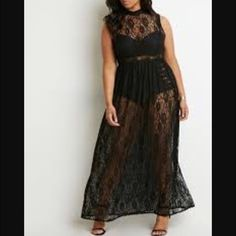 Plus size black all lace maxi dress. Never got to wear it but did take off the tags. Plus size black all lace maxi dress. 1x but because the elastic on the waist fits 2x. Sold out everywhere. Can be worn w anything you like under. A tank and leggings. Skirts. Shorts. Or as shown. Make me an offer I can't resist. (: I do have a listing on Ⓜ️ercari that's only at $55 Forever 21 Dresses Maxi
