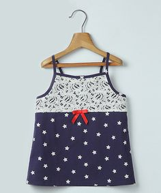 Lace & Star Print Top Navy - Infant, Toddler & Girls