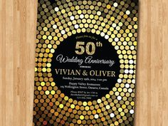 50th Wedding Anniversay Gold glitter Black background. 50th Gold wedding anniversary invite. Golden Fifty. Printable digital DIY.