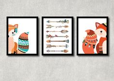 Tribal Fox Set - Woodland Nursery Decor, Printable Forest Creature Art, Boy Baby Shower Poster, Play Room Wall Decor, Tribal Fox Nursery Art by ColorfulCloudStudio on Etsy https://www.etsy.com/listing/279445404/tribal-fox-set-woodland-nursery-decor