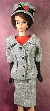 Vintage Barbie Career Girl    Vintage Barbie Career Girl #954 (1963-1964)    Black & White Tweed Jacket  Black & White Tweed Skirt  Matching Hat  Red Knit Body Blouse  Long Black Gloves   Black Open Toe Heel