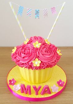 Cake Smash Giant Cupcake! Beautiful pink & yellow theme with cute shabby chic style bunting!