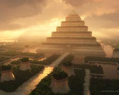 Hanging Gardens of Babylon. Beautiful Digital Art.