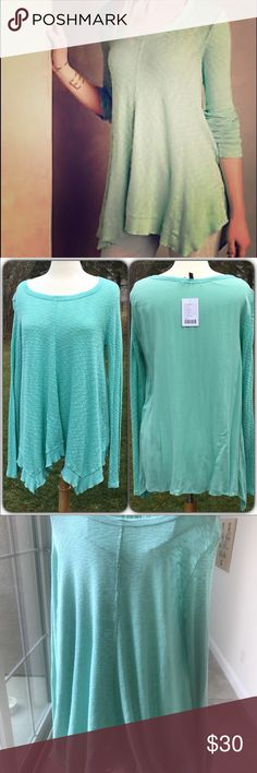 Anthropologie mint green left of center tee Anthropologie mint green left of center centerline skin tee worn once Anthropologie Tops Tunics