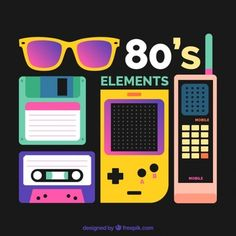 Eighties elements with high contrast Free Vector 80s Party Decorations, Party Themes, Eighties Party, Casette Tapes, Throwback Music, 80s Design, Flat Design, 80s Neon, 80s Theme