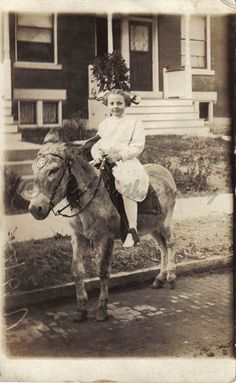 Little Girl Riding Donkey Vintage Photo JPEG File.  via Etsy.