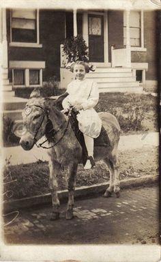 Little Girl Riding Donkey Vintage Photo JPEG by PhotoArtbycnicely, $3.75