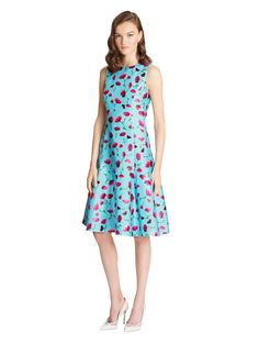 Exclusive Floral-Print Silk-Cotton Mikado Flared Dress - Dresses - Ready-to-Wear