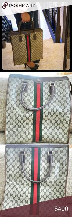 1970s Vintage Authentic Gucci Shopper Tote Handbag Authentic from 1970s, has Gucci Made in Italy tag but no serial number, this particular bag was created before Gucci started using serial numbers.  It is pre owned and definitely shows signs of wear and tear on the corners and trim of the bag, a little polish will cover those flaws. You will find minor scuffs, rubbing and marks on the bag. Inside the bag is pretty clean however, it is a little powdery (meaning if you rub your hand inside you…