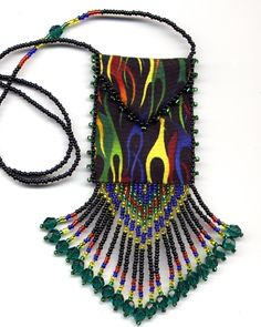 Finished, Beaded Flames Teal Dangles Amulet Bag by Dragon (Also available in pattern & kit).