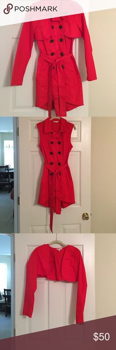 """Red CAbi trench coat. Sleeves unzip to wear as a vest or """"shrug"""".  Worn once. CAbi Jackets & Coats Trench Coats"""