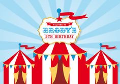 CIRCUS Backdrop Printable Artwork - Print Your Own - Personalized for your Birthday Party Carnival Party Foods, Circus Theme Party, Carnival Themes, Carnival Birthday, Birthday Party Themes, Birthday Ideas, Dessert Table Backdrop, Banner Backdrop, Circus Background