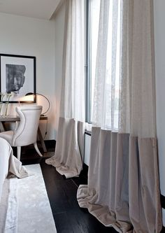 The black floorboards against the half voile curtains is a luxurious look. I love the draping effect on the floor that is given by these curtains. Voile Curtains, Modern Curtains, Curtains With Blinds, Curtain Fabric, Drapery, Two Tone Curtains, Half Curtains, Beaded Curtains, Velvet Curtains