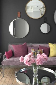 Purple + grey this is the color of the wall that I want in my living room, @Colleen Sweeney Ursenbach Do you think we could find something like it?