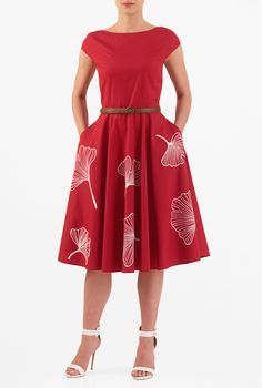 Our cotton poplin fit-and-flare dress is styled with a figure-defining seamed and belted waist and a full flare skirt embellished with florals for a ladylike finish. Dressy Dresses, Long Bridesmaid Dresses, Simple Dresses, Lace Dresses, Club Dresses, Custom Dresses, Vintage Dresses, African Traditional Dresses, Kurti Designs Party Wear