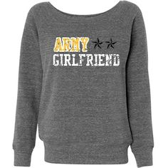 Army Girlfriend w/Back: Custom Junior Fit Bella Triblend Slouchy Wideneck Sweatshirt - Customized Girl