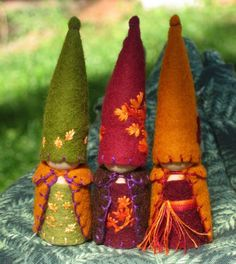 Autumn Leaves Gnome Trio Waldorf Inspired Natural Storytelling Dollhouse Doll Play