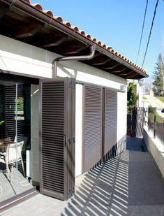Outdoor Shutters, Window Shutters, Door Design, House Design, Louvre Windows, Balcony Grill, Shutter Doors, Grill Design, Balcony Design