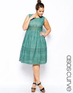 ASOS CURVE Midi Dress In Broderie