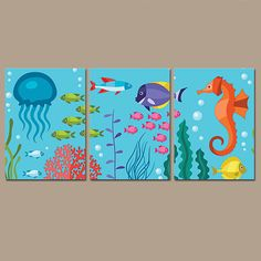 OCEAN Bathroom Wall Art   Nautical Under The Sea Life Girl Boy Bathroom Fish  Octopus Seahorse Set Of 3 Child Bathroom Canvas Or Print