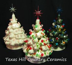 Vintage Atlantic Mold Ceramic White Christmas Tree Light Ornaments ...
