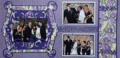Scrapbook Page - The Wedding Party - 2 page purple wedding layout - from Wedding Album 1