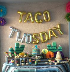TACO TWOsday:) You can get so creative with these balloons, They can be hung on twine or use double sided tape on walls (as shown) What a FUN celebration for a 2 year old Taco Themed Fiesta :) This Listing Includes: * Set of NON FLOAT Balloons spelling out READY TO POP * Twine to hang