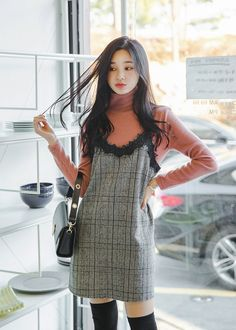 Report Wave Check Bustier Dress