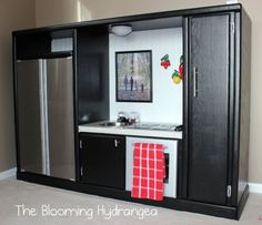 Entertainment Center turned into Play Kitchen - I've seen a lot of different exa. - Entertainment Center turned into Play Kitchen - I've seen a lot of different examples of these. Even if you don't have children. Diy Kids Kitchen, Kitchen Sale, Kitchen Ideas, Real Kitchen, Awesome Kitchen, Kitchen Modern, Old Entertainment Centers, Entertainment System, Licht Box