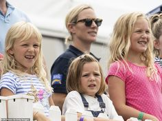 Zara Tindall, Mia Tindall, Savannah Phillips and Isla Phillips watch the Pony Club races during the 2019 Festival of British Event in at Gatcombe Park Queen Elizabeths Children, Gatcombe Horse Trials, The Pony Club, Windsor, British Eventing, Autumn Phillips, Zara Phillips, The Perfect Girl, Mattel