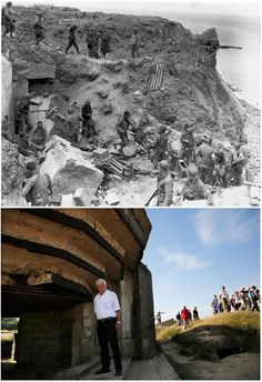 1- June 8, 1944: A US flag lies as a marker on a destroyed bunker two days after the strategic site overlooking D-Day beaches was captured by US Army Rangers at Pointe du Hoc, France 2- An Italian tourist views the bunker