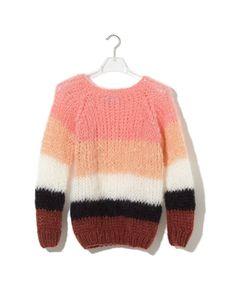 2f111af7a6 Maiami Striped Sweater Coral Pullover Strickjacke, Strickjacken, Tejido,  Garne