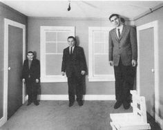 The Ames Room, invented by American ophthalmologist Adelbert Ames, Jr. 1934
