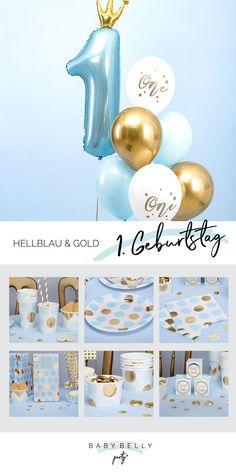 Sorg zur Feier des 1. Geburtstages deines Sohnes für ein bisschen Deko! Zartes Hellblau in Kombination mit glänzendem Gold - feiern Sie den ersten Geburtstag Ihres kleinen Engels verspielt und edel zugleich. Ob Pünktchen-Muster, Chevron-Struktur oder eine Kombination aus beidem - passen Sie die Dekoration dem Ehrengast individuell an und zaubern Sie mit hinreißenden Accessoires einen Traum in Hellblau als Geburtstagsfeier.