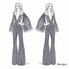 "Natalie Rompotis illustration: ""N I C O L E // the divine @nictrunfio in none other than @zuhairmuradofficial at the Grammy Awards #zuhairmuradcouture //"""