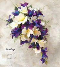 """Blue Purple orchids & Frangipani """"Real Touch"""" Bridal Teardrop Bouquet Set (1)"""