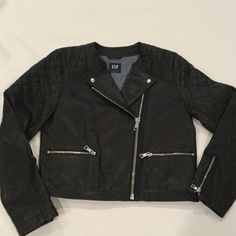 Gap Leather Motorcycle Jacket Black pebble leather with side zipper and quilted top. Worn once and like new! 100% genuine leather. GAP Jackets & Coats Utility Jackets