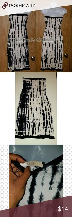 White and Black Strapless Dress Tube top style dress Super stretchy Exist Dresses Strapless