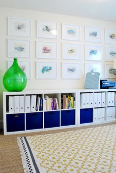 ikea bookcases turned sideways...love this idea!!!