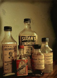 Antique bottles by urbanraven, via Flickr Old Medicine Cabinets, Old Medicine Bottles, Antique Glass Bottles, Apothecary Bottles, Vintage Bottles, Bottles And Jars, Glass Jars, Perfume Bottles, Vintage Nurse
