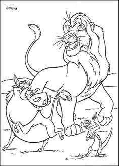 The Lion King coloring pages - Happy Simba, Timon and Pumbaa