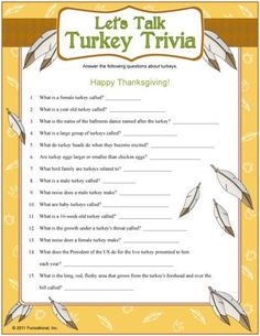 """Let's Talk Turkey"" Trivia - Printable Thanksgiving Games Thanksgiving Trivia Questions, Thanksgiving Facts, Thanksgiving Potluck, Thanksgiving Activities, Thanksgiving Decorations, Holiday Games, Christmas Games, Holiday Trivia, Christmas Trivia"