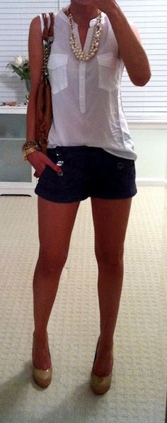 Outfit Posts: outfit posts: nude button down, black shorts, pink chunky necklace