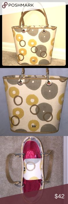 Adorable, Elaine Turner Bag  Beautiful & unique bag in linen w/ leather trim. Gorgeous colors make this a statement piece!! • Linen (beige) w/ sage green, deep yellow & brown circles • Soothing, earthy color palate • Metal hardware on handles is a brushed nickel tone • Pre-loved, Excellent condition • I see two tiny marks on bag.  Elaine Turner Bags Totes