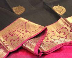 black kanchipuram silk