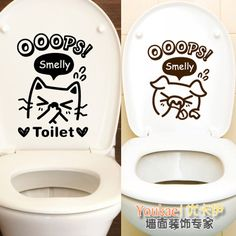 Pig cat toilet bathroom waterproof mildew stickers paper tiles glass wall cartoon funny wall stickers
